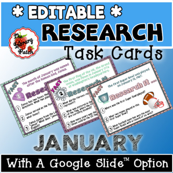 Research Task Cards for January
