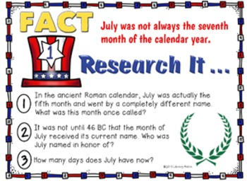 Research Task Cards for July