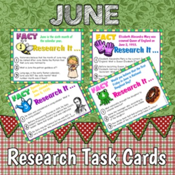 Research Task Cards for June