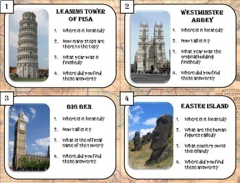 Library Skills: Research Task Cards for Library or Classroom: World Landmarks