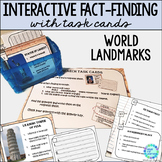 Library Research Task Cards for Library or Classroom World Landmarks