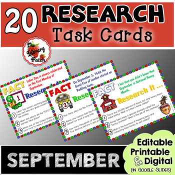 Research Task Cards for September