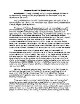 Research Task Simulation Hoovervilles/ Great Depression gr