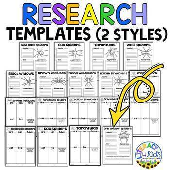 Spiders Research Project Templates for Third Graders