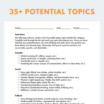Research Topics for Any Essay (an editable, printable checklist)