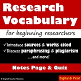 Middle School Research Vocabulary and Quiz