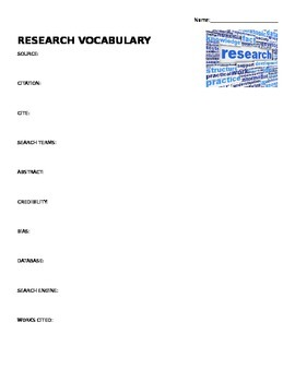 Research Vocabulary Worksheet Middle School