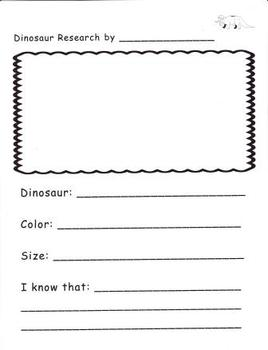 Research Writing Pages for Kindergarten and First Grade