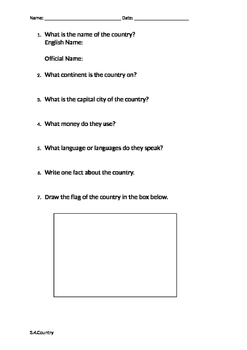 Research a Country Worksheet