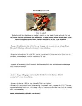 Research a Novel's History- Handout