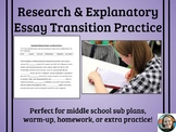 Research and Explanatory Essay Transition Words Practice