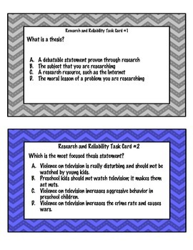 Research and Reliability Task Cards