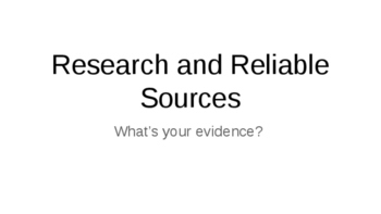 Research and Reliable Sources in Sceince