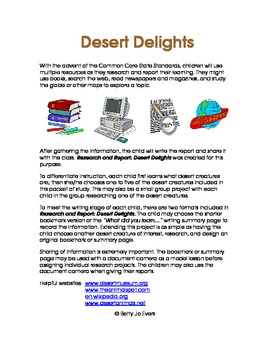 Research and Report: Desert Delights