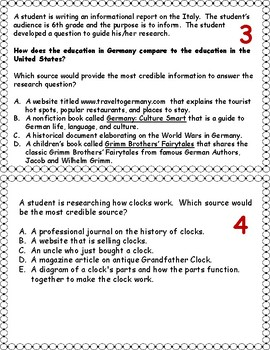 Research and Writing Task Cards
