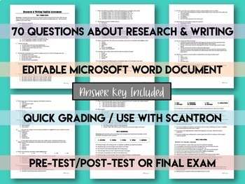 Research and Writing Skills Pre- and Post- Test or Final Exam for High School