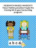 Research based: handout on visual memory for handwriting k12345 SPED