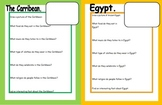 Research sheet for pupils on Egypt and the Carribean