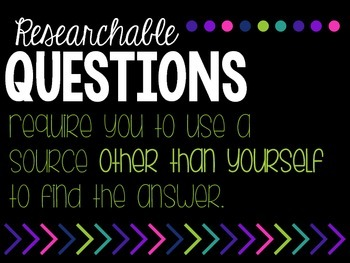 Researchable Questions Posters for Genius Hour