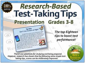 Test Prep Tips and Strategies Research Based Presentation