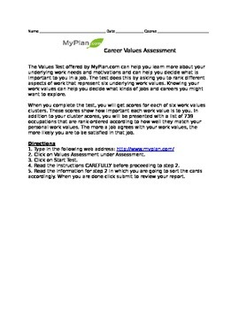 Researching Careers- Online Career Values Assessment