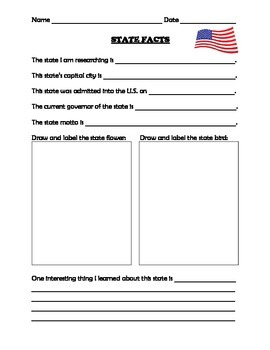 Researching State Facts Activity Worksheet