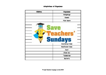 Researching adaptation Lesson plan, Class organizer and Instructions