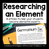 Researching an Element of the Periodic Table: 111 Articles