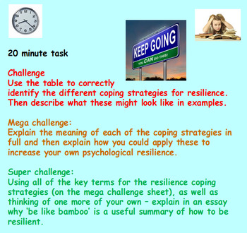 Resilience - how to achieve with good mental health (1hr PP, 4 worksheets, clip)