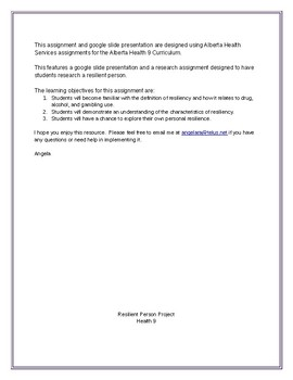 Resiliency-Alberta grade 9 Health Curriculum Research Assignment