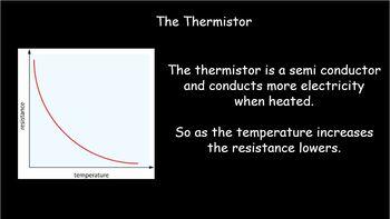 Resistance 3 - 4 lesson prac, thermistor, filament bulb, resistor, diode L.D.R
