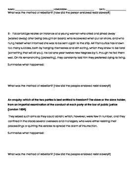 Resistance to slavery homework assignment