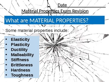 Resistant Materials Wood-Shop Revision Lesson #22: Properties of Materials Guide