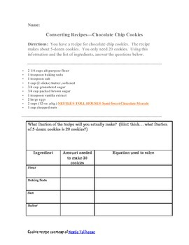 Resizing/converting a cookie recipe (multiply & divide wit