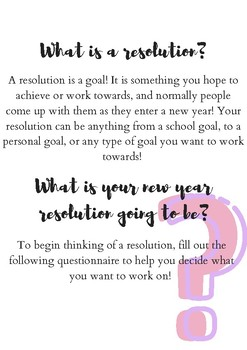 Resolution activities for the week back to school after winter holidays! 2019
