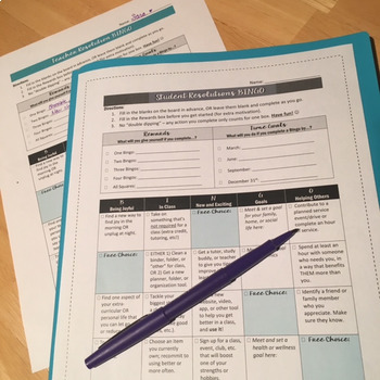 FREE Goal-Setting BINGO for Students: Resolutions Activity for Teens