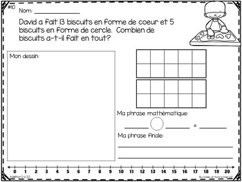 Résolutions de problèmes:  Addition Word Problems in French