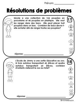 Résolutions de problèmes à plusieurs étapes  -  French Word Problems