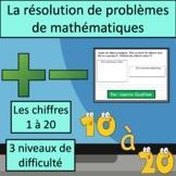 Résolutions de problèmes avec les chiffres 1 à 20 {Math Word Problems in French}