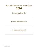 Resolutions pour le nouvel an - FLE - Debutant/Beginner