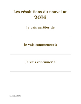 Resolutions pour le nouvel an - FLE - Debutant/Beginner
