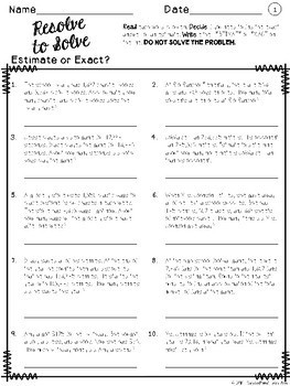 Resolve to Solve - Differentiated Word Problems - Estimate or Exact Answer