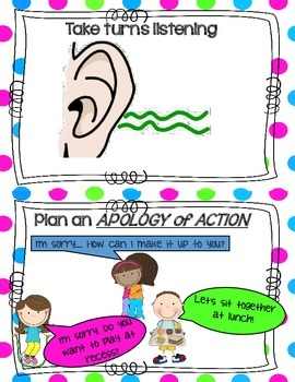 Resolving Problems Peacefully Anchor Chart  Cards