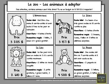 Résoudre une situation-problème : Le zoo (3e année du primaire)