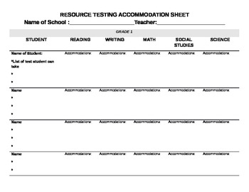 Resource Accommodation Form-Printable/Electronic