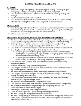 Resource: Lesson Planning Guidance - One Pager