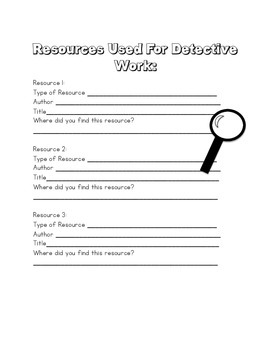Detective Resource List FREEBIE