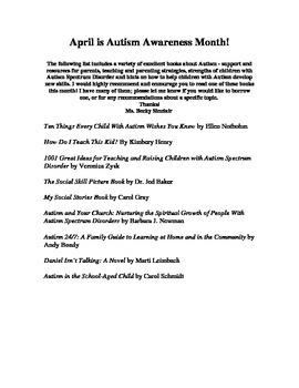 Resource List for Parents Raising Children with Autism