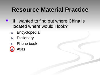 Resource Materials Focus on Phone book and Atlas