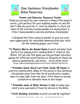Resource Packet to use with One Sentence Storybooks: Bible Favorites